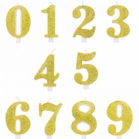 Candeline numeri oro glitter