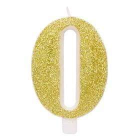 Candela numero 0 oro glitter