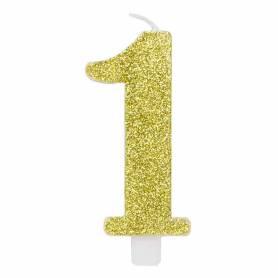 Candela numero 1 oro glitter