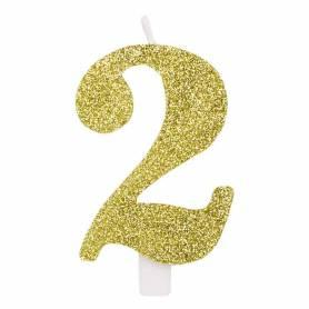 Candela numero 2 oro glitter