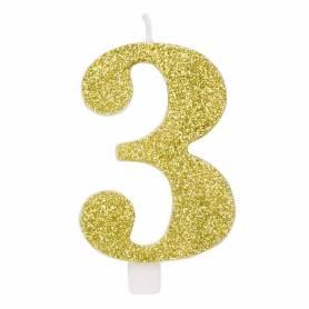 Candela numero 3 oro glitter