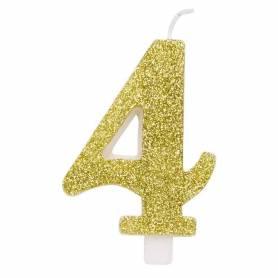 Candela numero 4 oro glitter