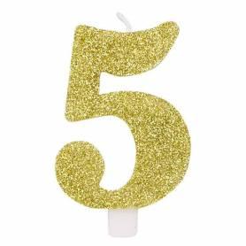 Candela numero 5 oro glitter