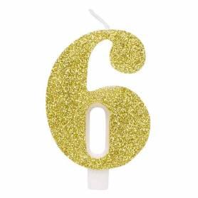 Candela numero 6 oro glitter