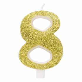 Candela numero 8 oro glitter