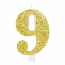 Candela numero 9 oro glitter