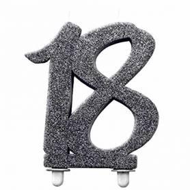 Candelina 18 glitter nero