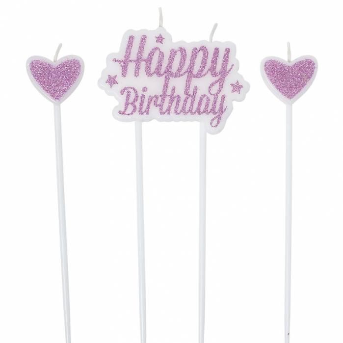 Set candele glitter rosa