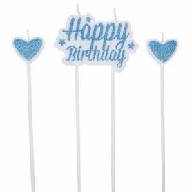 Set candele glitter azzurro