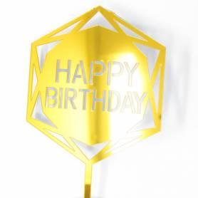 Topper plexiglass Happy Birthday esagono