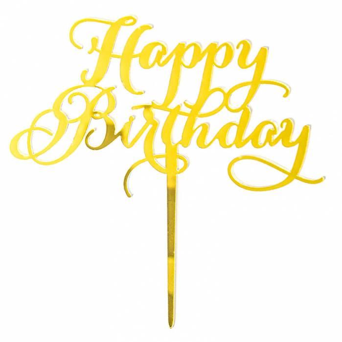 Topper plexiglass happy birthday corsivo