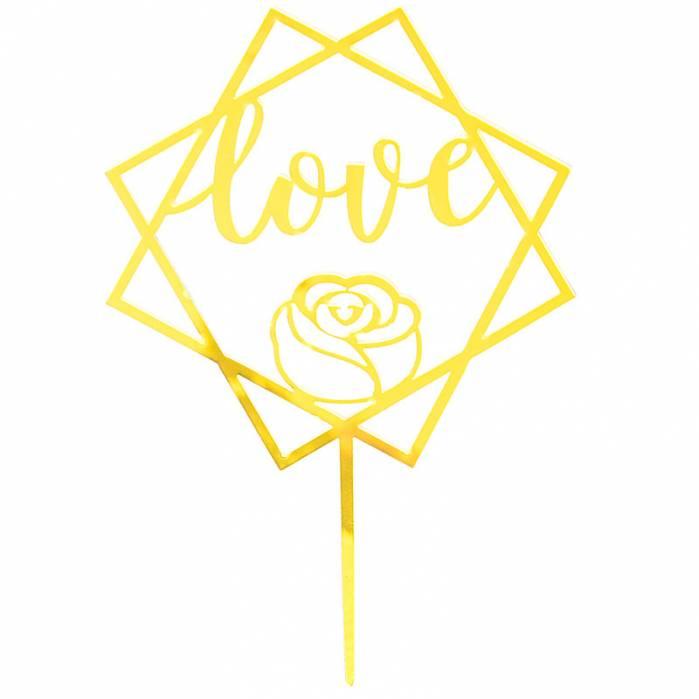 Topper torta plexiglass Love rosa