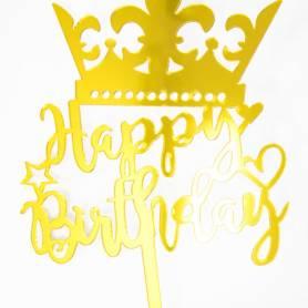 Topper torta Happy Birthday corona