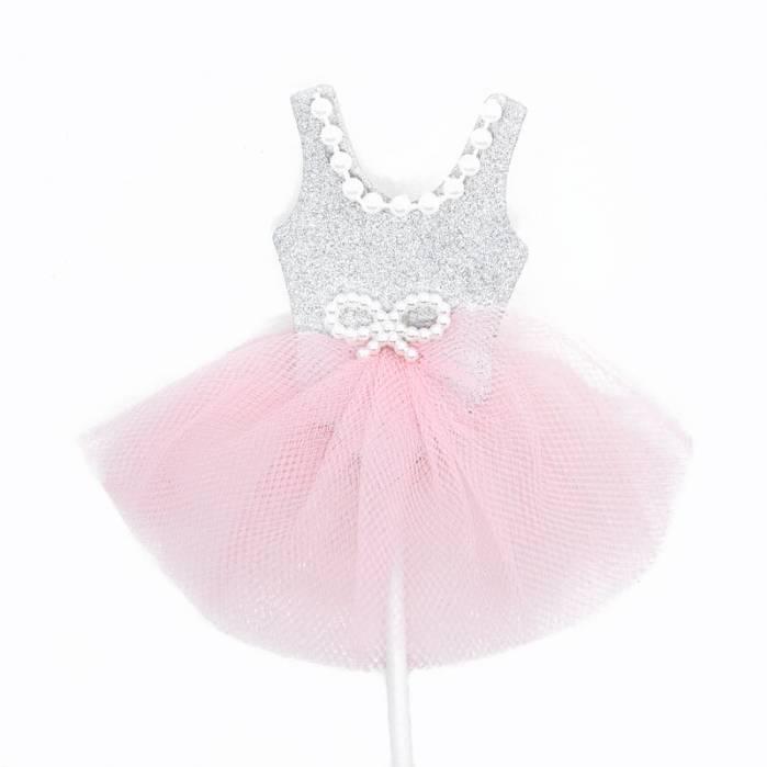 Picks vestito ballerina argento tulle rosa