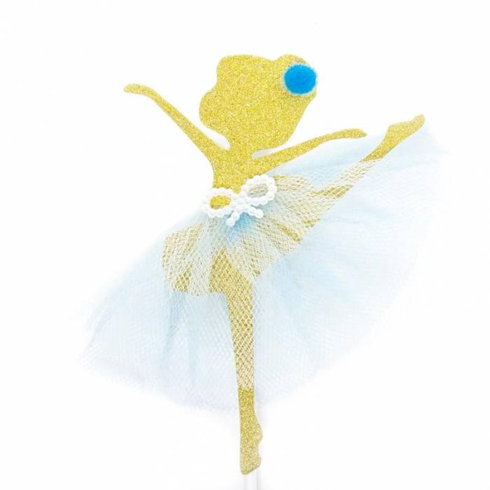 ballerina glitter oro tulle celeste