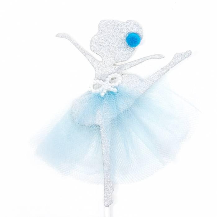 ballerina glitter argento tulle celeste