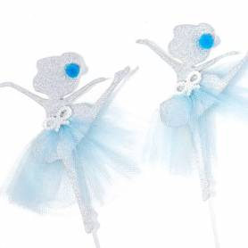 coppia picks ballerine argento celeste
