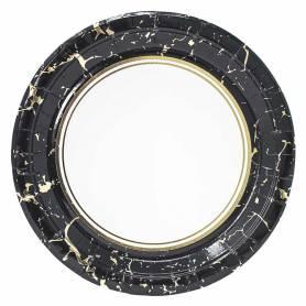 Piatto 23 cm marmo nero oro