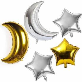 Set palloncini luna stella oro argento