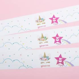 Etichette personalizzate con nome unicorno