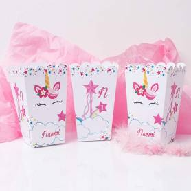 scatole pop corn personalizzate unicorno