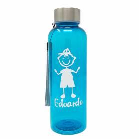 Bottiglia personalizzata con nome azzurro