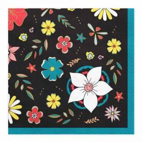 Tovaglioli carta fiori messicani nero
