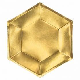 Piatto esagonale oro lucido