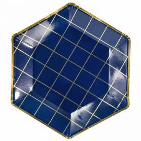 Piatti esagonali geometrici blu quadretti oro