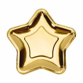 Piatti di carta stella oro