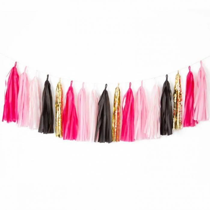 Festone frange nappine rosa e nero