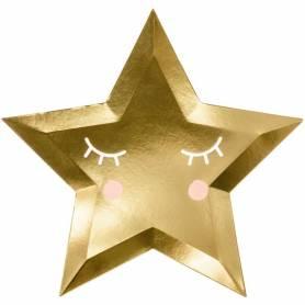 Piatti stella oro con faccina