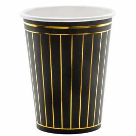 Bicchiere di carta nero righe oro