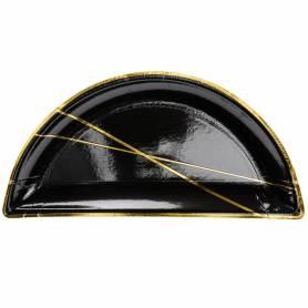 Piatti di carta mezzaluna nero oro