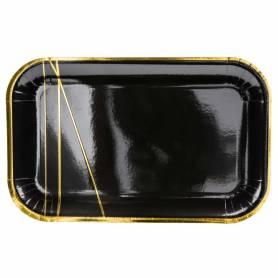 Piatti di carta rettangolari nero oro