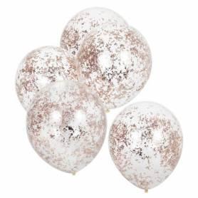 Palloncini trasparenti coriandoli oro rosa