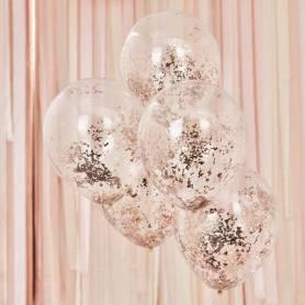 Palloncino con coriandoli oro rosa