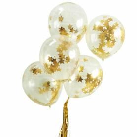 Palloncini trasparenti con stelle oro
