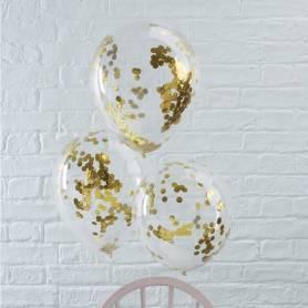 Palloncini con coriandoli oro