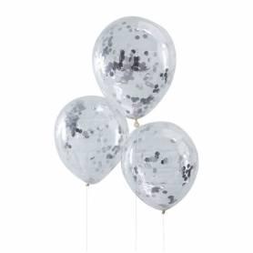 Palloncini trasparenti con coriandoli argento