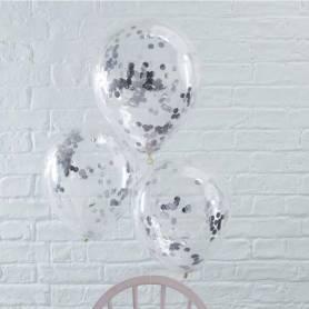 Palloncini con coriandoli argento
