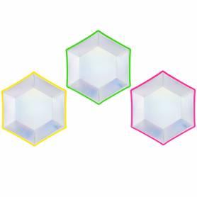 Piatti di carta neon iridescenti