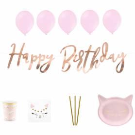 Set Festa a tema Gatto rosa