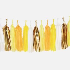 Festone nappe carta giallo oro bianco