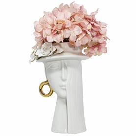 Vaso testa donna con cappello