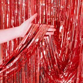 Tenda frange party glitter rosso