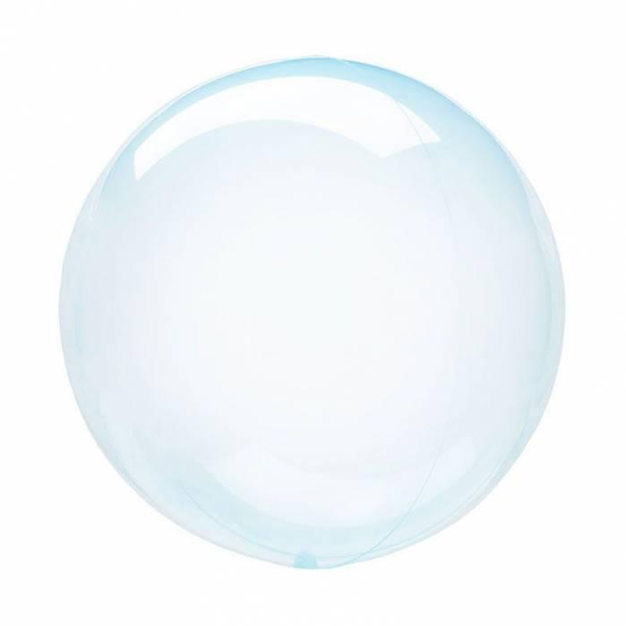 Palloncino bubble celeste trasparente 46cm
