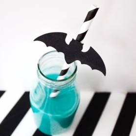 Cannucce a righe bianco e nero con pipistrello