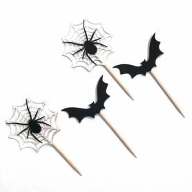 Picks decorativi pipistrello e ragnatela